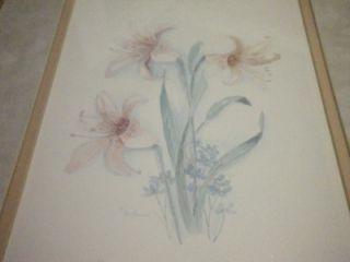 Water Color Print Artist Signed Mary Vincent Bertrand Frame