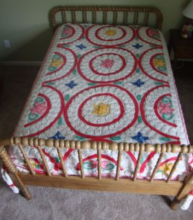Vintage Chenille Bedspread Full 90 x 102 White Pink Rose Green Blue
