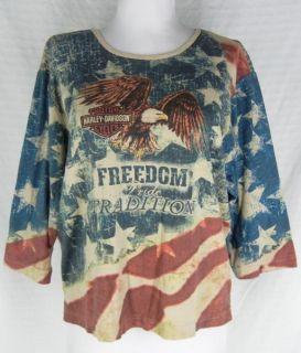 Harley Davidson Patriotic American Flag Graphic Tee Shirt Top XL Eagle