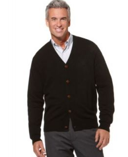 Geoffrey Beene New Black Ribbed Trim Button Down Casual Cardigan