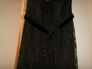 Betsey Johnson Black Victorian Strapless Lace Belted Dress Size US 6