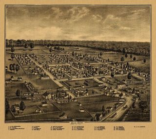 Belle Center Birds Eye View Map 1875 Ohio Logan County History of