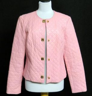 Belle Sport Size XL Genuine Quilted Pink Leather Jacket Coat Lined