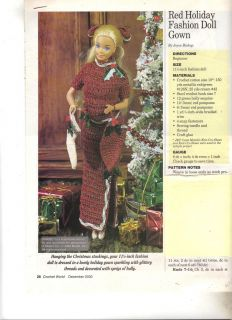 Red Holday Fashion Doll Gown Crochet Pattern Beginner Skills