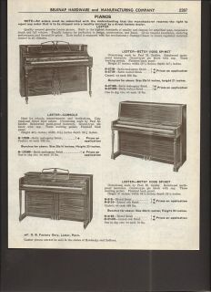 1961 Lester Pianos Betsy Ross Spinet Console Zeidler Ad