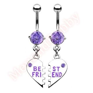 Pair Best Friend Belly Dangle Bar Ring Body Jewellery
