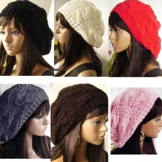 New Fashion 6 Colors Warm Winter Women Beret Braided Baggy Beanie Hat