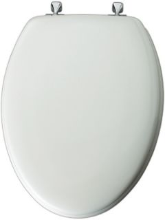 Bemis Mayfair White Elongated Molded Wood Toilet Seat with Chrome