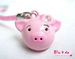 Pink Pig Head Bell Mobile Cell Phone Charm Strap 0 8