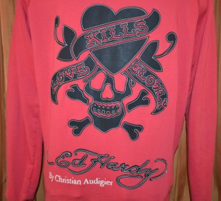 Ed Hardy Christian Audigier Love Kills Slowly Red Sweater Jacket Mens