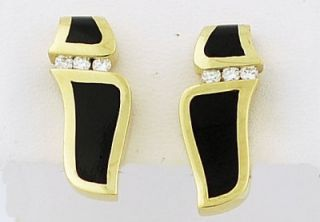 Excellent 18K Y G Bernard K Passman Diamond Earrings with Black Coral