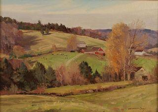 Bernard Corey Antique American Impressionist Landscape Vermont Hill