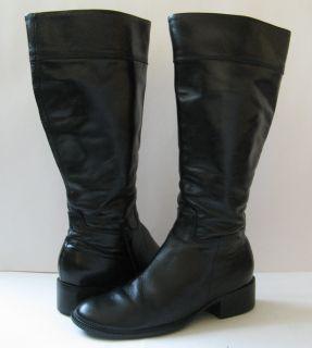 229 Harve Benard Black Leather English Riding Boots Excellent Sz 7