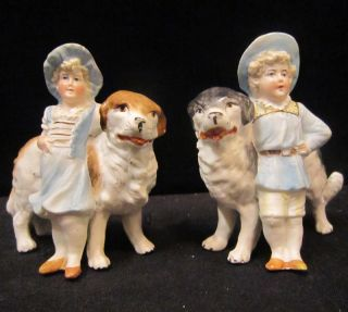 Bisque Piano Baby porcelain Figurine Germany Dog Antique Saint Bernard