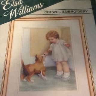 Bessie Pease Gutmann The Reward Girl Dog Stitchery Crewel Kit RARE 18