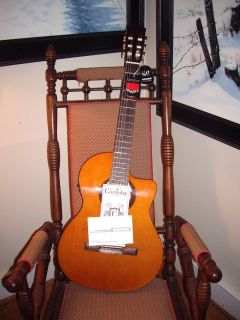 CET Classical Nylon String Electric Cutaway Guitar Mahogany Solid Top