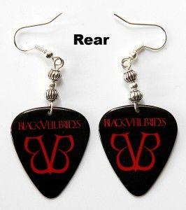 black veil brides 2 sided guitar pick earrings