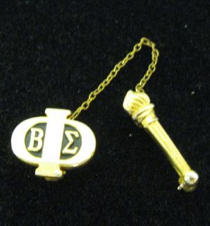 Vintage Beta Sigma PHI Sorority Gold Enamel Pin with Chained Torch