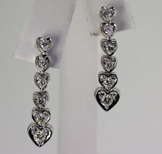 INTRIGUING .85CT 12 DIAMOND GRADUATED HEART 14K WHITE GOLD DANGLE FLEX