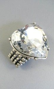 Betsey Johnson Iconic Heart Silver Tone Stretch Ring