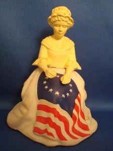 Betsy Ross Glass Figurine Bottle Avon Sonnet Cologne Stars & Stripes