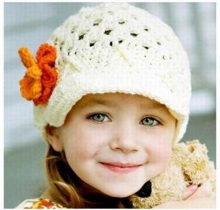 Toddler Baby Girl Kid Knitting Flower Beanie Beret Cap Cotton Princess