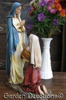 Statue Our Lady Lourdes Mary St Bernadette Indoor Outdoor Resin