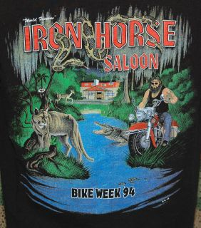 Vtg Iron Horse Saloon Shirt Bike Week 94 Harley Davidson Swamp Ride
