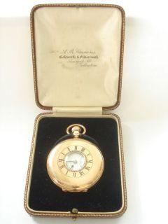 1923 J W BENSON 9K SOLID GOLD CASED HALF HUNTER POCKET WATCH IN