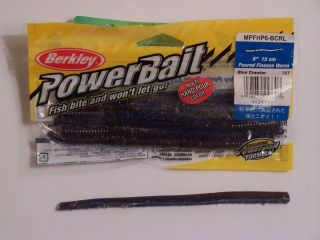 Berkley Powerbait Finesse Worm 6in Blue Crawler Bass Fishing Lure bait
