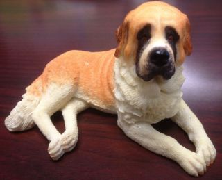 SAINT BERNARD COLLECTIBLE POLY RESIN STATUE FIGURINE PET DOG DOGGY ST