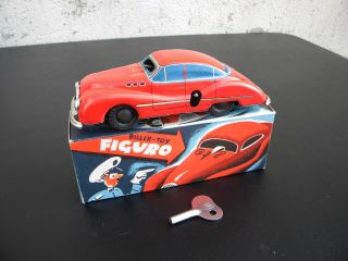 SCARCE* vintage 1950s BILLER GERMANY FIGURO TIN wind up TOY AUTO MINT