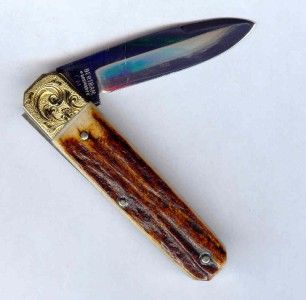 Hen Rooster Bertram Germany Solid Gold Bolster cm 6 Stag Knife Mint