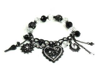 Betsey Johnson Jewelry Iconic Jet Crystal Heart Bracelet New 2012