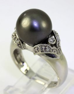 IMPERIAL .20CT DIAMOND 11.25 MM GRAY CULTURED PEARL 14K WHITE GOLD
