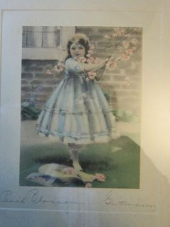 Bessie Pease Gutmann Print Peach Blossoms Rare A Girl in a Blue Dress
