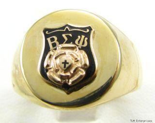 Beta Sigma PSI Lutheran Fraternity RARE 10K Gold Rose 13 7 grams Ring