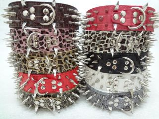 Gator Leather Spiked Pet Dog Collars Large Dog Pitbull Mastiff Terrier