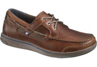 Sebago Mens Triton Three Eye Boat Shoes Brown Oiled Dark Brown Leather