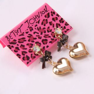 Betsey Johnson Synchronous Heart Bow Earrings BJ E23