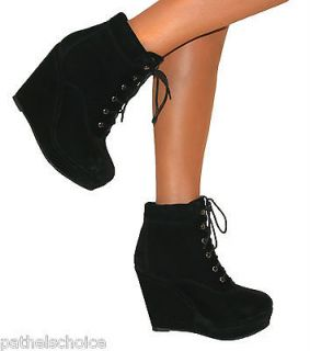LADIES BLACK WEDGE HIGH HEEL PLATFORM SUEDE LACE UP SHOES ANKLE BOOTS