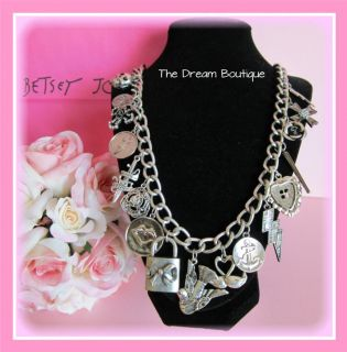 Betsey Johnson New Black Label Silver Long Charm Necklace Skull Cross