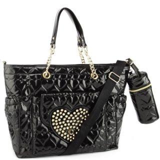 Betsey Johnson Diaper Bag Style Tote Handbag Black Patent Be Mine Gold