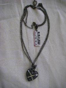 Authentic Betsey Johnson Iconic Violet Heart Locket Necklace Hematite