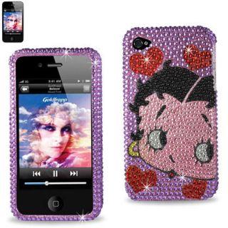 iPhone 4 & 4S Purple Betty Boop Hearts Rhinestones Diamond Protector