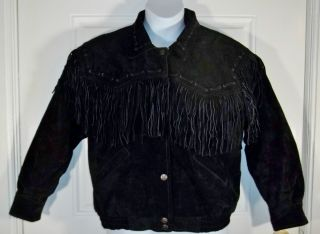 Vintage Black Beyond Leather Suede Western Fringe Womens Jacket Coat