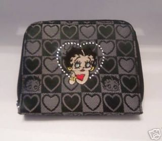 Betty Boop Black Embroidered Zippered Clutch Wallet New