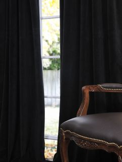 Warm Black Pole Pocket Velvet Blackout Curtains Drapes