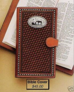 Hand Tooled Leather Bible Cover Western Cowboy Cross