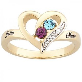 STERLING SILVER W/ GOLD OVERLAY COUPLES HEART NAME BIRTHSTONE RING
